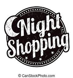 francobollo, notte, shopping, o, segno