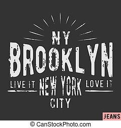 francobollo, nuovo, brooklyn, york, vendemmia