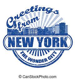 francobollo, nuovo, saluti, york