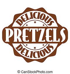 francobollo, o, pretzel, delizioso, etichetta