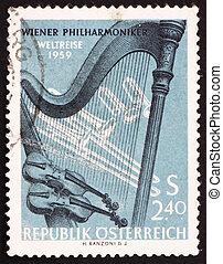 francobollo, orchestral, austria, strumenti, 1959