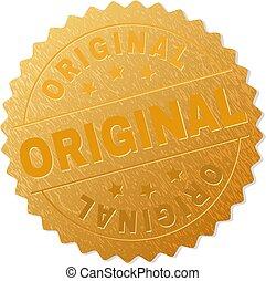 francobollo, oro, originale, medaglione