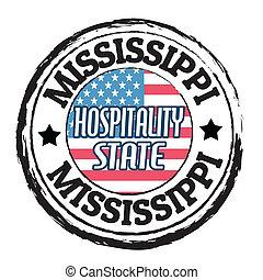 francobollo, ospitalità, stato, mississippi