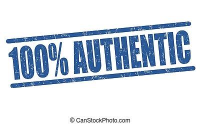 francobollo, percento, 100, autentico