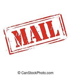 francobollo, posta, vettore, grunge, rosso