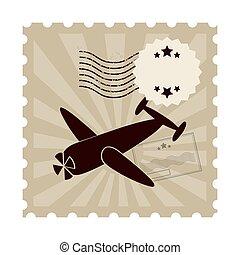 francobollo, postale, classico, isolato, icona