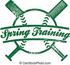 francobollo, primavera, addestramento, baseball