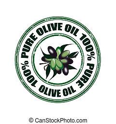 francobollo, puro, olio oliva
