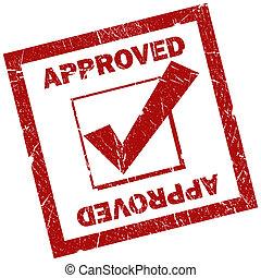 francobollo, quadrato, approvato, rosso