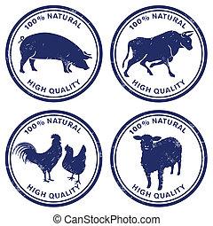 francobollo, qualità, carne