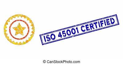 francobollo, rettangolo, certificato, qualità, iso, collage, 45001, graffiato