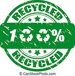 francobollo, riciclato, 100%