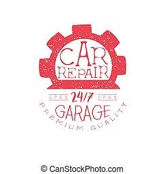 francobollo, riparazione automobile, rosso, vendemmia
