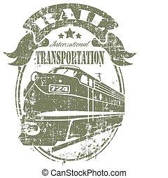francobollo, rotaia, trasporto
