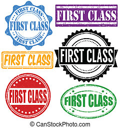 francobollo, set, classe, primo