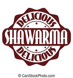 francobollo, shawarma, o, delizioso, etichetta