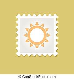 francobollo, sole, vettore