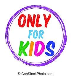 francobollo, soltanto, bambini, o, segno