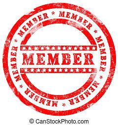 francobollo, sopra, membro, fondo, bianco rosso