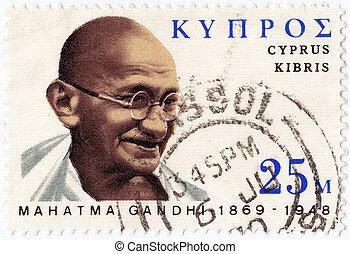 francobollo, stampato, mohandas, -, cipro, esposizione, 1978...