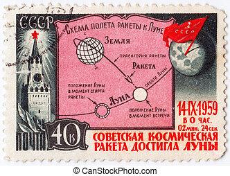 francobollo, stampato, urss, pendente, soviet, -, 1959, mostra, luna, circa, :