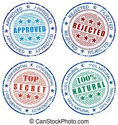 francobollo, stampe, set, grunge, vettore
