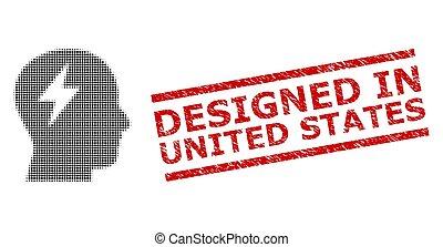 francobollo, stati, unito, halftone, brainstorming, sigillo, disegnato, punteggiato, graffiato