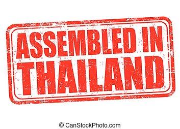 francobollo, tailandia, o, montato, segno