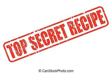 francobollo, testo, cima, ricetta, segreto, rosso
