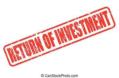 francobollo, testo, ritorno, investimento, rosso