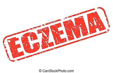 francobollo, testo, rosso, eczema