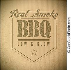 francobollo, testo, unico, barbecue, classico