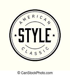 francobollo, vendemmia, americano, stile, classico