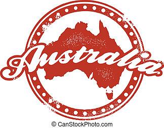 francobollo, vendemmia, australia