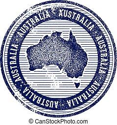 francobollo, vendemmia, australia, turismo, paese