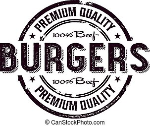 francobollo, vendemmia, hamburger, menu