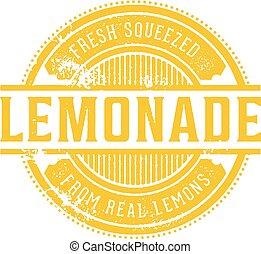 francobollo, vendemmia, limonata, fresco, menu