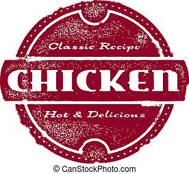 francobollo, vendemmia, pollo