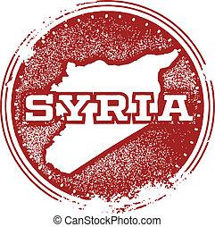 francobollo, vendemmia, siria, paese