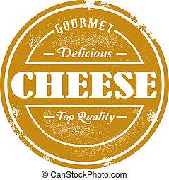 francobollo, vendemmia, stile, formaggio