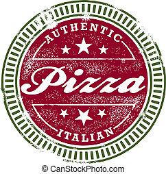 francobollo, vendemmia, stile, pizza