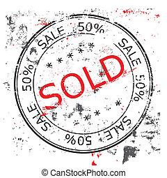 francobollo, venduto, vettore