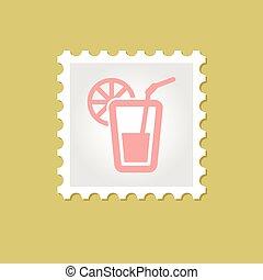 francobollo, vettore, cocktail