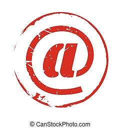 francobollo, @, vettore, grunge, rosso