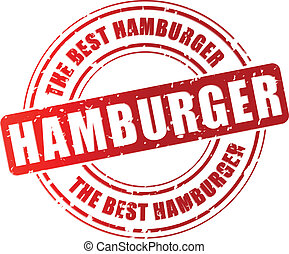 francobollo, vettore, hamburger