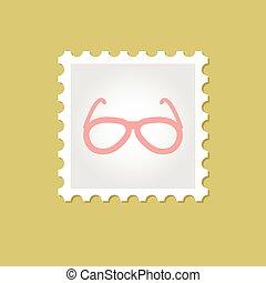 francobollo, vettore, occhiali da sole