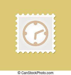 francobollo, vettore, orologio