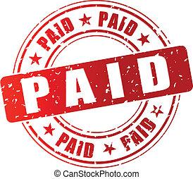 francobollo, vettore, pagato