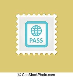 francobollo, vettore, passaporto
