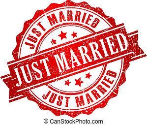 francobollo, vettore, sposato appena